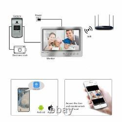 Wifi Video Intercom 9'' Monitor Record Door phone RFID IR Doorbell Remote Unlock
