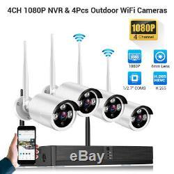 Wireless 1080P Security Camera Video Recorder Night Vision 4CH NVR Surveillance