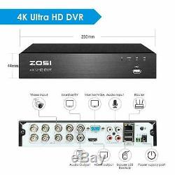 ZOSI 4K H. 265+ Security Camera System with 2TB Hard Drive 8CH DVR 24/7 Recording