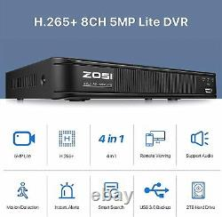 ZOSI H. 256+ 5MP Lite 8CH Surveillance Security Smart Recording 1080P DVR 2TB